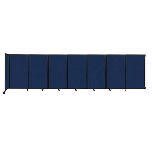 """Wall-Mounted Room Divider 360 Folding Partition 19'6"""" x 5' Navy Blue Fabric"""