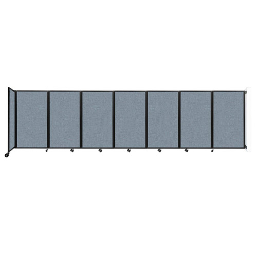 """Wall-Mounted Room Divider 360 Folding Partition 19'6"""" x 5' Powder Blue Fabric"""