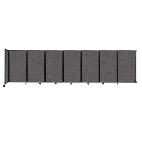 """Wall-Mounted Room Divider 360 Folding Partition 19'6"""" x 5' Charcoal Gray Fabric"""