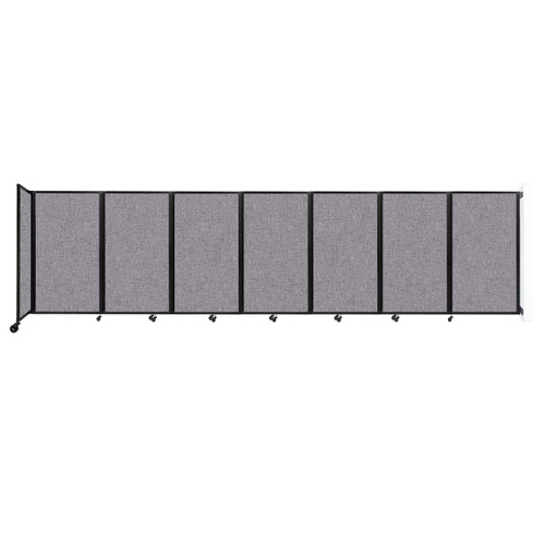 """Wall-Mounted Room Divider 360 Folding Partition 19'6"""" x 5' Cloud Gray Fabric"""