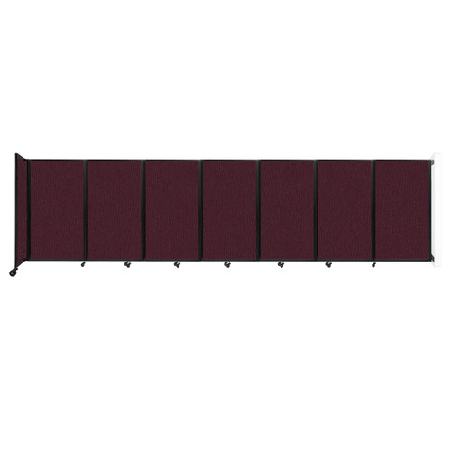 """Wall-Mounted Room Divider 360 Folding Partition 19'6"""" x 5' Cranberry Fabric"""