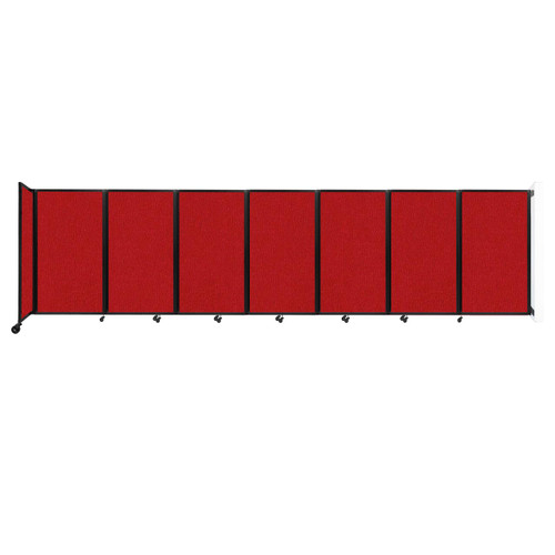 """Wall-Mounted Room Divider 360 Folding Partition 19'6"""" x 5' Red Fabric"""