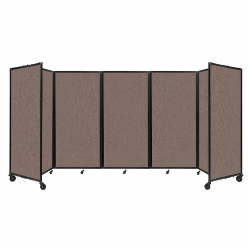 Room Divider 360 Folding Portable Partition 14' x 6' Latte Fabric