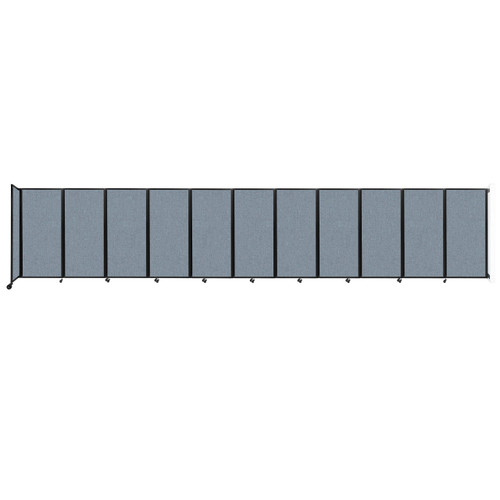"""Wall-Mounted Room Divider 360 Folding Partition 30'6"""" x 6' Powder Blue Fabric"""