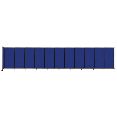 """Wall-Mounted Room Divider 360 Folding Partition 30'6"""" x 6' Royal Blue Fabric"""