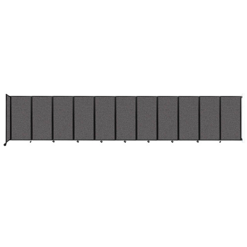 """Wall-Mounted Room Divider 360 Folding Partition 30'6"""" x 6' Charcoal Gray Fabric"""