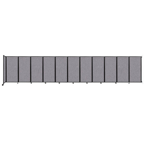 """Wall-Mounted Room Divider 360 Folding Partition 30'6"""" x 6' Cloud Gray Fabric"""