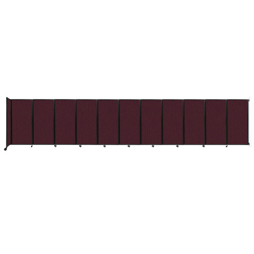 """Wall-Mounted Room Divider 360 Folding Partition 30'6"""" x 6' Cranberry Fabric"""