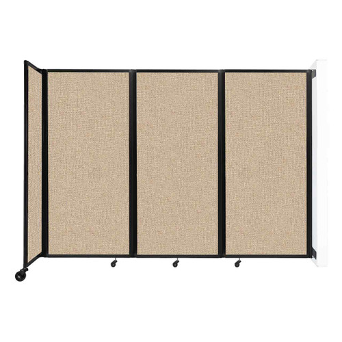 """Wall-Mounted Room Divider 360 Folding Partition 8'6"""" x 6' Beige Fabric"""