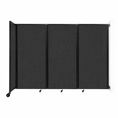 """Wall-Mounted Room Divider 360 Folding Partition 8'6"""" x 6' Black Fabric"""