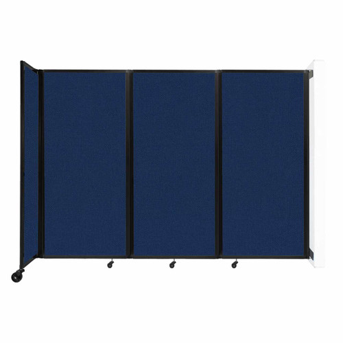 """Wall-Mounted Room Divider 360 Folding Partition 8'6"""" x 6' Navy Blue Fabric"""