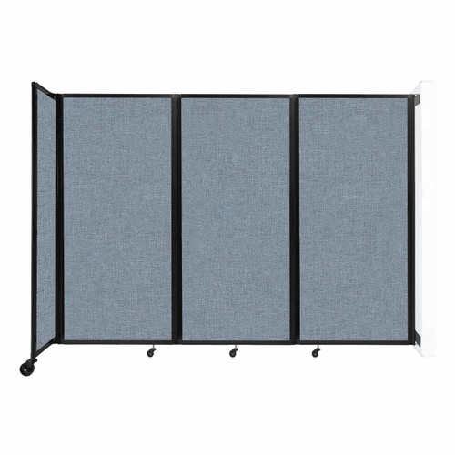 """Wall-Mounted Room Divider 360 Folding Partition 8'6"""" x 6' Powder Blue Fabric"""