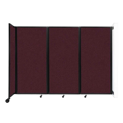"""Wall-Mounted Room Divider 360 Folding Partition 8'6"""" x 6' Cranberry Fabric"""