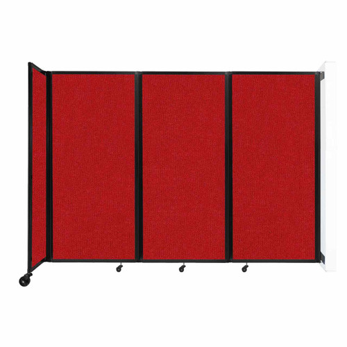 """Wall-Mounted Room Divider 360 Folding Partition 8'6"""" x 6' Red Fabric"""