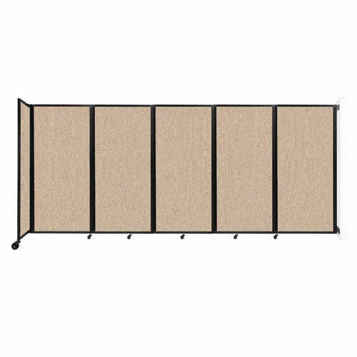 Wall-Mounted Room Divider 360 Folding Partition 14' x 6' Beige Fabric