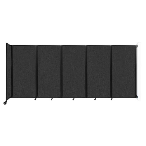 Wall-Mounted Room Divider 360 Folding Partition 14' x 6' Black Fabric