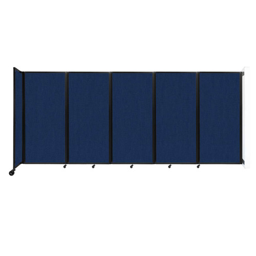 Wall-Mounted Room Divider 360 Folding Partition 14' x 6' Navy Blue Fabric