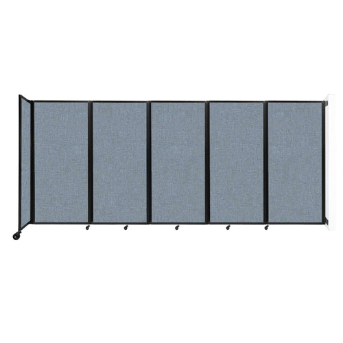 Wall-Mounted Room Divider 360 Folding Partition 14' x 6' Powder Blue Fabric