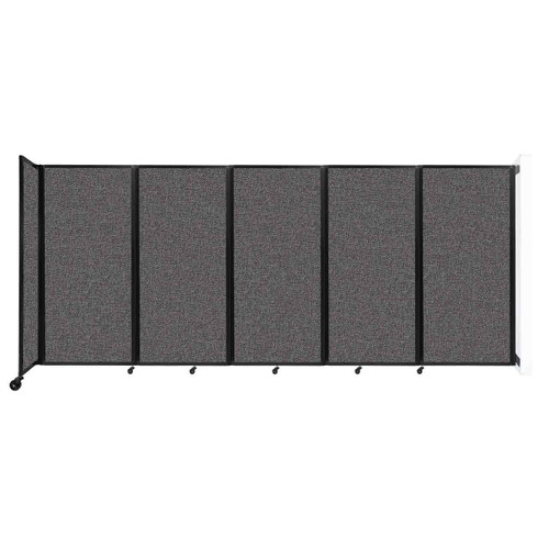 Wall-Mounted Room Divider 360 Folding Partition 14' x 6' Charcoal Gray Fabric