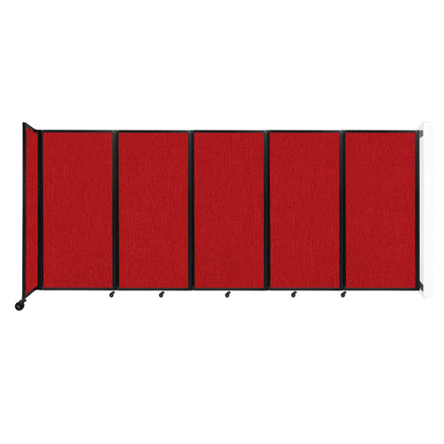 Wall-Mounted Room Divider 360 Folding Partition 14' x 6' Red Fabric