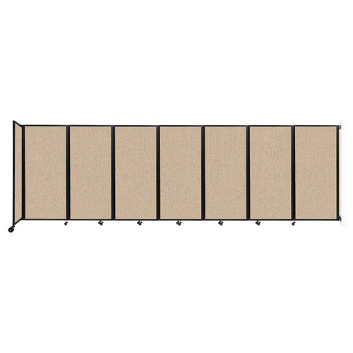 """Wall-Mounted Room Divider 360 Folding Partition 19'6"""" x 6' Beige Fabric"""