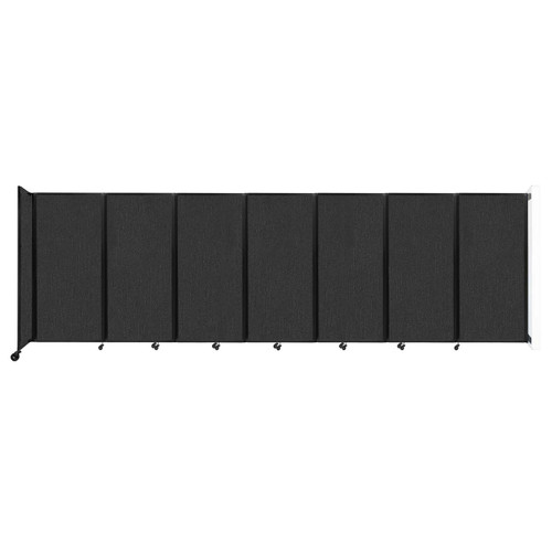 """Wall-Mounted Room Divider 360 Folding Partition 19'6"""" x 6' Black Fabric"""