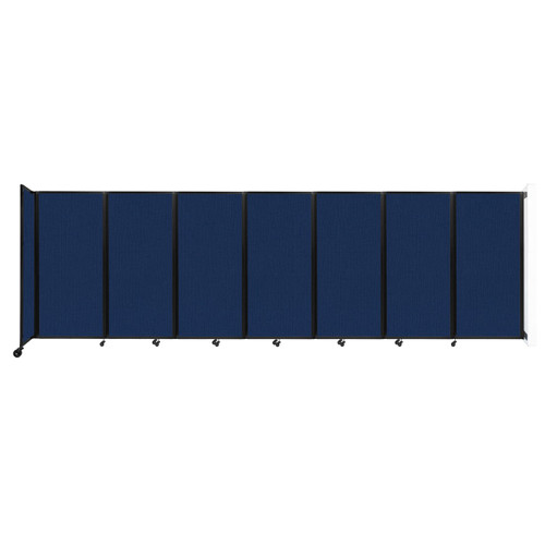 """Wall-Mounted Room Divider 360 Folding Partition 19'6"""" x 6' Navy Blue Fabric"""