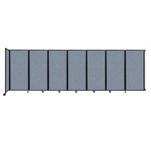 """Wall-Mounted Room Divider 360 Folding Partition 19'6"""" x 6' Powder Blue Fabric"""