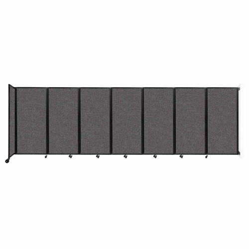 """Wall-Mounted Room Divider 360 Folding Partition 19'6"""" x 6' Charcoal Gray Fabric"""