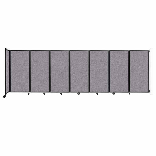 """Wall-Mounted Room Divider 360 Folding Partition 19'6"""" x 6' Cloud Gray Fabric"""