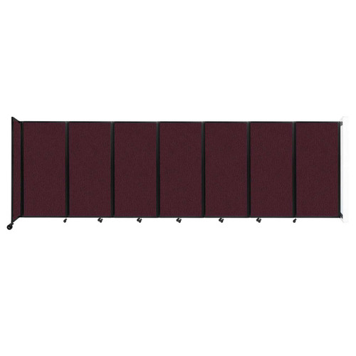 """Wall-Mounted Room Divider 360 Folding Partition 19'6"""" x 6' Cranberry Fabric"""