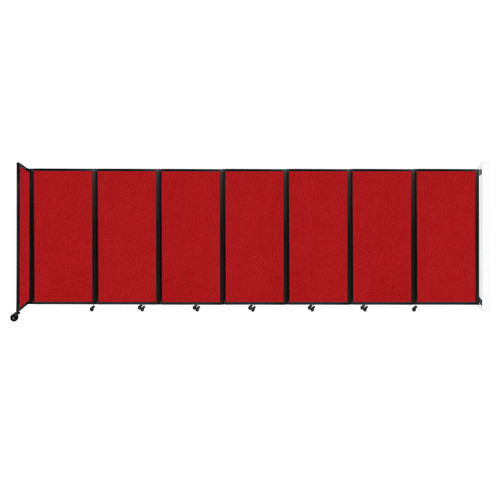 """Wall-Mounted Room Divider 360 Folding Partition 19'6"""" x 6' Red Fabric"""