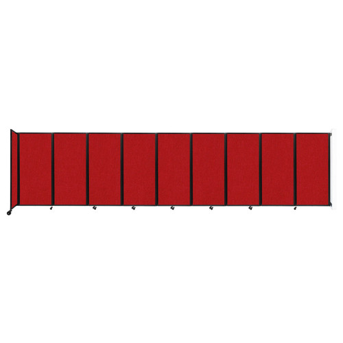 Wall-Mounted Room Divider 360 Folding Partition 25' x 6' Red Fabric