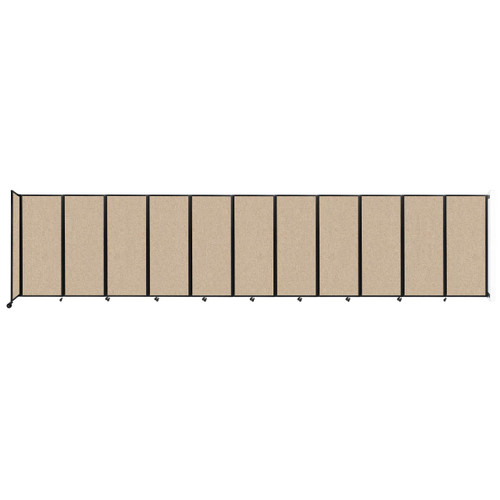 """Wall-Mounted Room Divider 360 Folding Partition 30'6"""" x 6'10"""" Beige Fabric"""