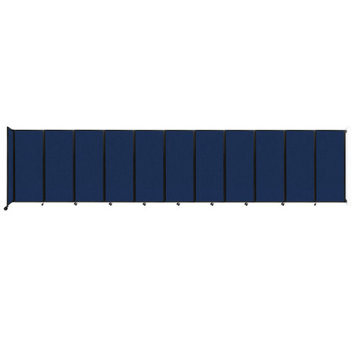 """Wall-Mounted Room Divider 360 Folding Partition 30'6"""" x 6'10"""" Navy Blue Fabric"""