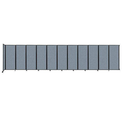"""Wall-Mounted Room Divider 360 Folding Partition 30'6"""" x 6'10"""" Powder Blue Fabric"""