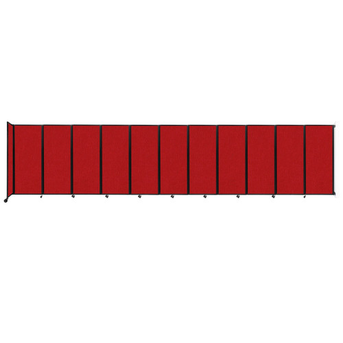 """Wall-Mounted Room Divider 360 Folding Partition 30'6"""" x 6'10"""" Red Fabric"""