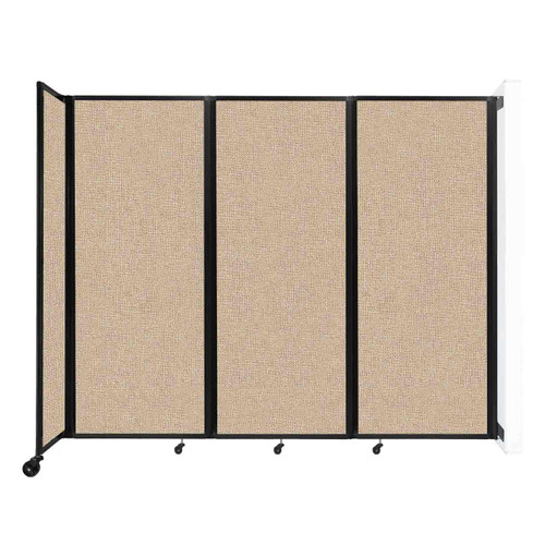"""Wall-Mounted Room Divider 360 Folding Partition 8'6"""" x 6'10"""" Beige Fabric"""