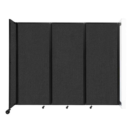 """Wall-Mounted Room Divider 360 Folding Partition 8'6"""" x 6'10"""" Black Fabric"""
