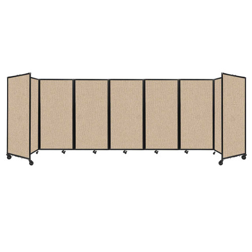 """Room Divider 360 Folding Portable Partition 19'6"""" x 6' Beige Fabric"""