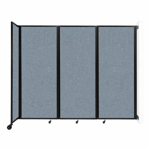 """Wall-Mounted Room Divider 360 Folding Partition 8'6"""" x 6'10"""" Powder Blue Fabric"""