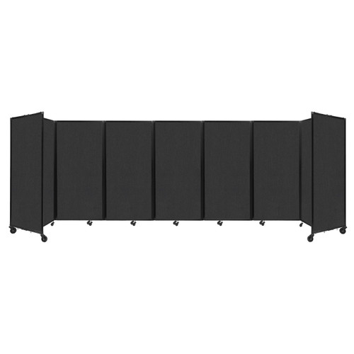 """Room Divider 360 Folding Portable Partition 19'6"""" x 6' Black Fabric"""
