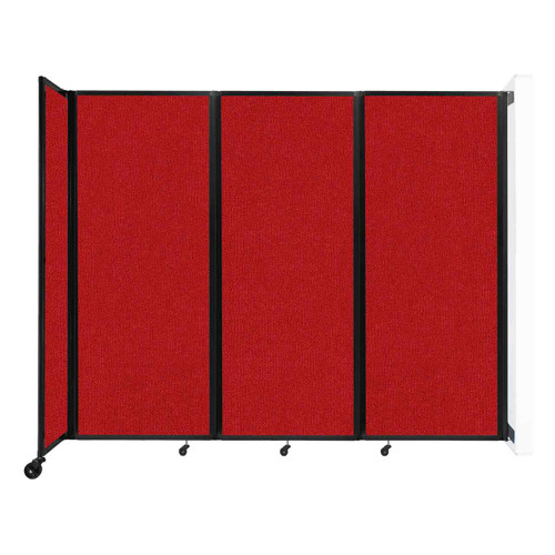 """Wall-Mounted Room Divider 360 Folding Partition 8'6"""" x 6'10"""" Red Fabric"""