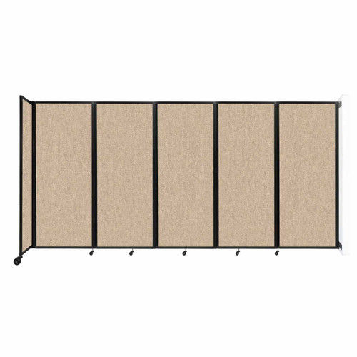 """Wall-Mounted Room Divider 360 Folding Partition 14' x 6'10"""" Beige Fabric"""