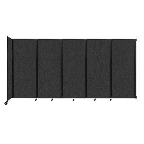 """Wall-Mounted Room Divider 360 Folding Partition 14' x 6'10"""" Black Fabric"""