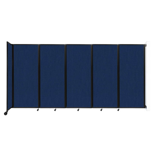 """Wall-Mounted Room Divider 360 Folding Partition 14' x 6'10"""" Navy Blue Fabric"""