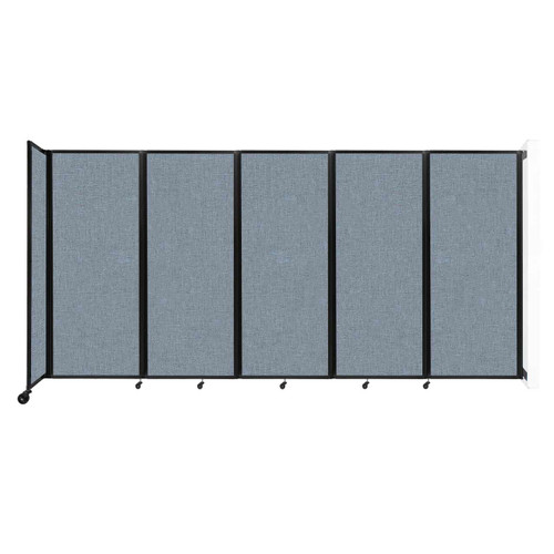 """Wall-Mounted Room Divider 360 Folding Partition 14' x 6'10"""" Powder Blue Fabric"""