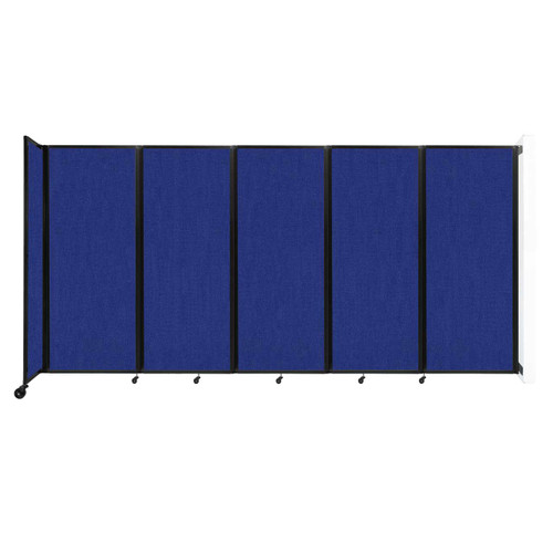 """Wall-Mounted Room Divider 360 Folding Partition 14' x 6'10"""" Royal Blue Fabric"""
