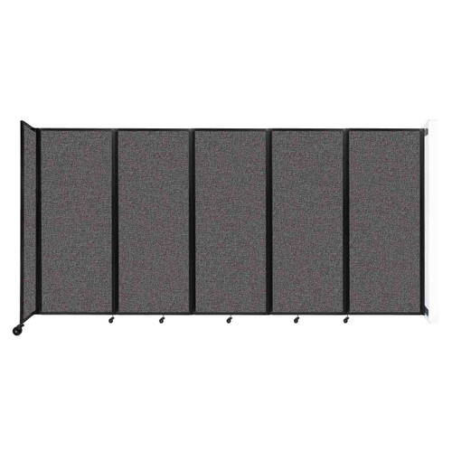 """Wall-Mounted Room Divider 360 Folding Partition 14' x 6'10"""" Charcoal Gray Fabric"""