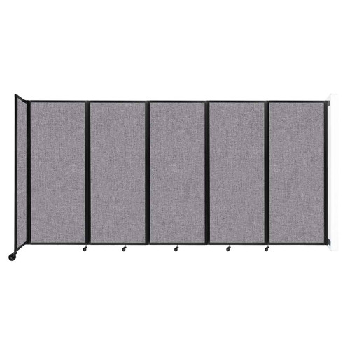 """Wall-Mounted Room Divider 360 Folding Partition 14' x 6'10"""" Cloud Gray Fabric"""
